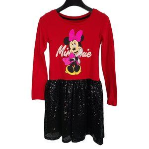 DISNEY Minnie Mouse Red with Black Sequins Dress L